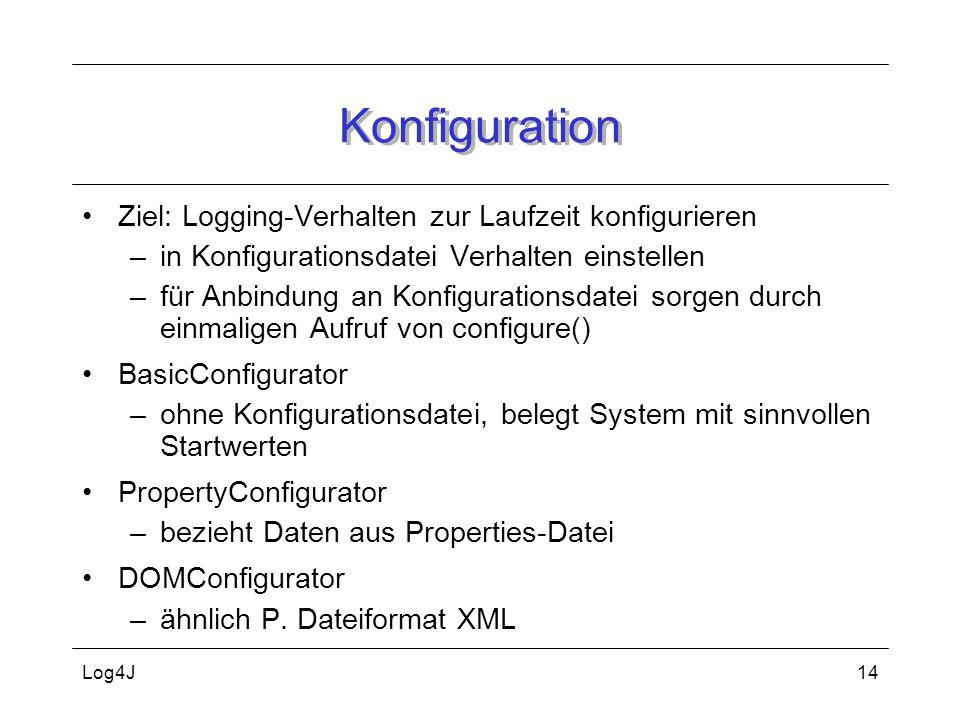Konfiguration Ziel: Logging-Verhalten zur Laufzeit konfigurieren