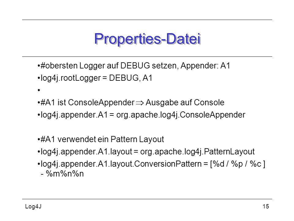Properties-Datei #obersten Logger auf DEBUG setzen, Appender: A1
