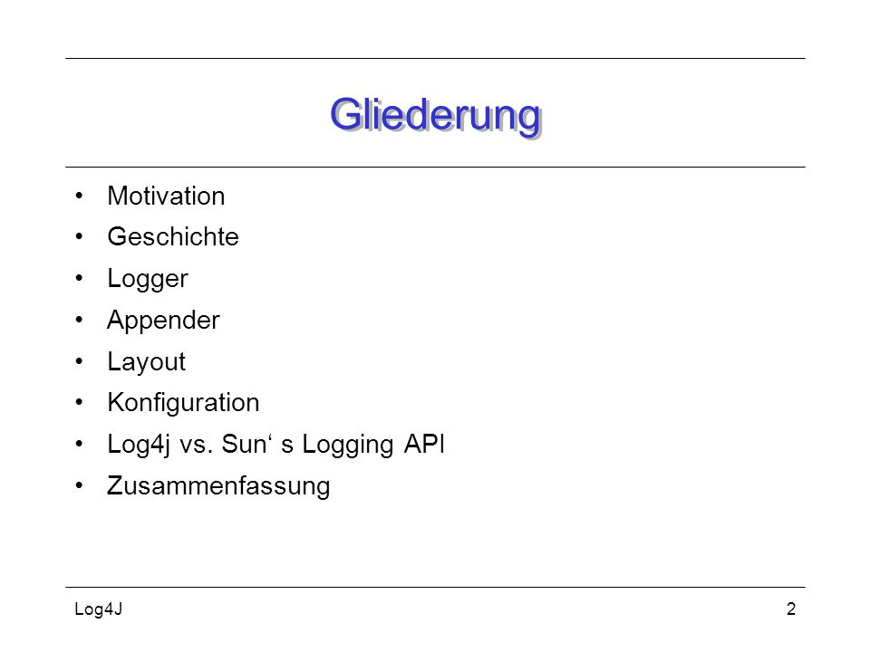 Gliederung Motivation Geschichte Logger Appender Layout Konfiguration