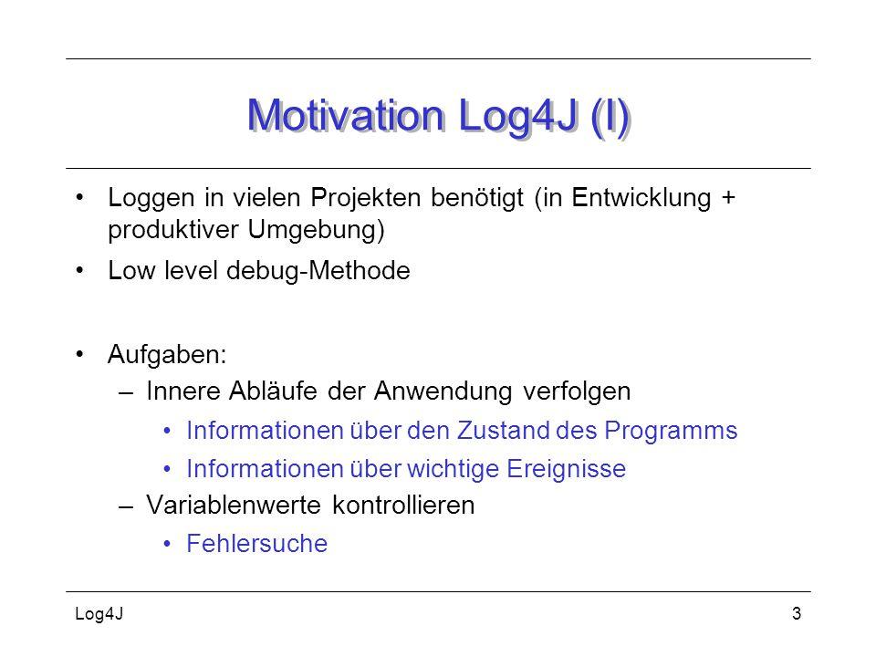 Motivation Log4J (I) Loggen in vielen Projekten benötigt (in Entwicklung + produktiver Umgebung) Low level debug-Methode.