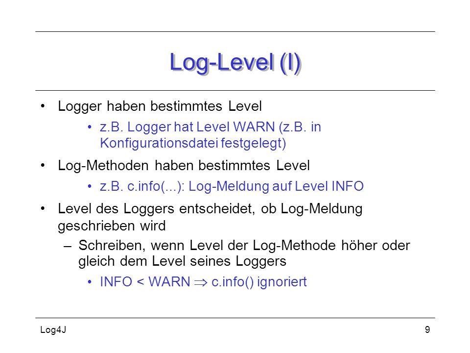 Log-Level (I) Logger haben bestimmtes Level