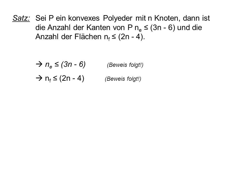 Satz:. Sei P ein konvexes Polyeder mit n Knoten, dann ist