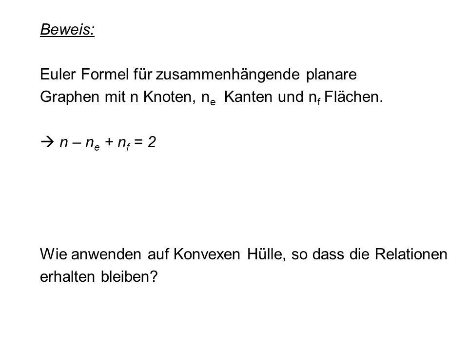 Beweis: Euler Formel für zusammenhängende planare. Graphen mit n Knoten, ne Kanten und nf Flächen.