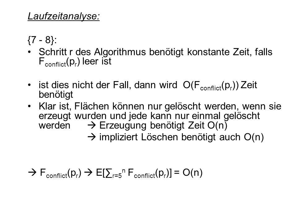 Laufzeitanalyse: {7 - 8}: Schritt r des Algorithmus benötigt konstante Zeit, falls Fconflict(pr) leer ist.