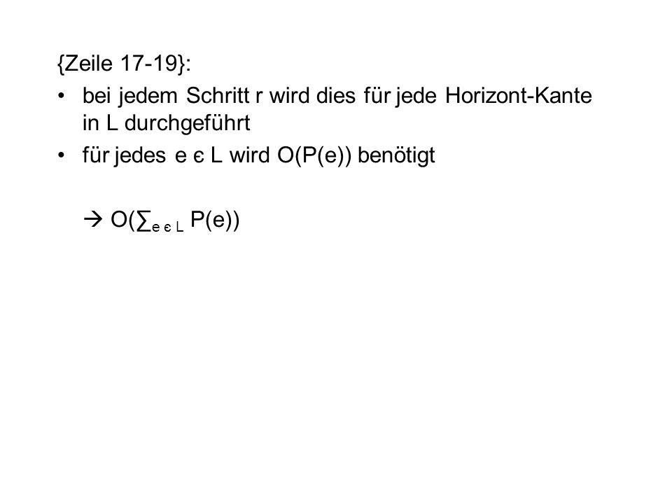{Zeile 17-19}: bei jedem Schritt r wird dies für jede Horizont-Kante in L durchgeführt. für jedes e є L wird O(P(e)) benötigt.