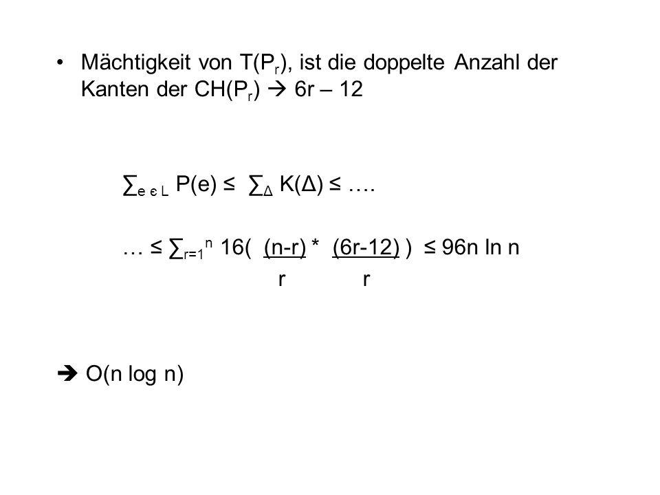 Mächtigkeit von T(Pr), ist die doppelte Anzahl der Kanten der CH(Pr)  6r – 12