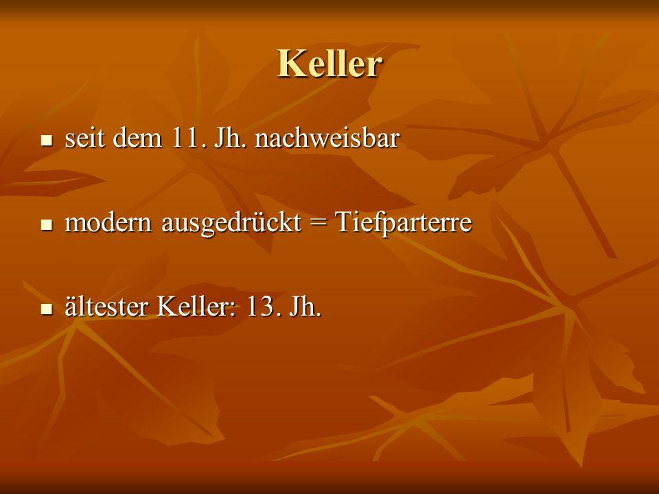 Keller seit dem 11. Jh. nachweisbar modern ausgedrückt = Tiefparterre