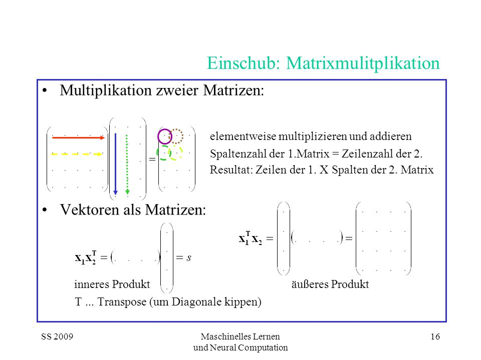 Einschub: Matrixmulitplikation