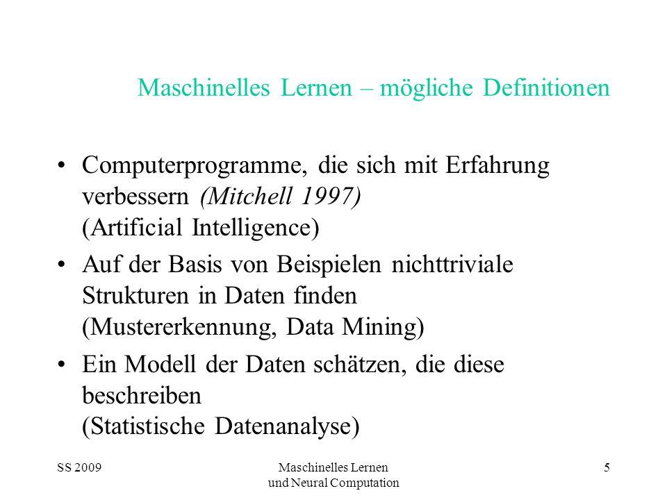 Maschinelles Lernen – mögliche Definitionen