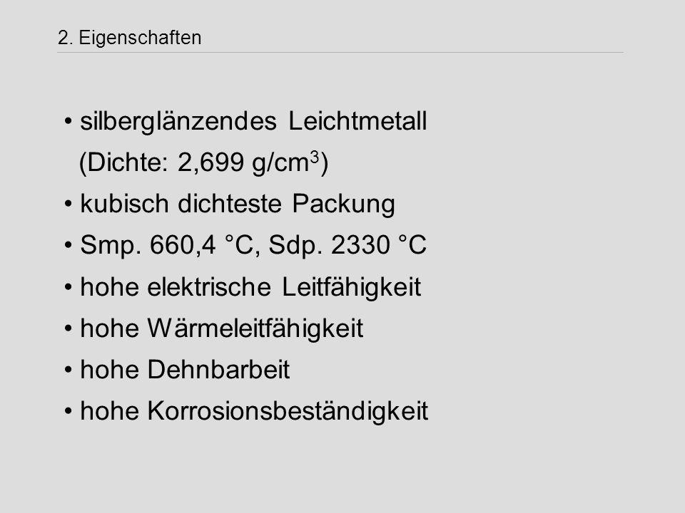 silberglänzendes Leichtmetall (Dichte: 2,699 g/cm3)