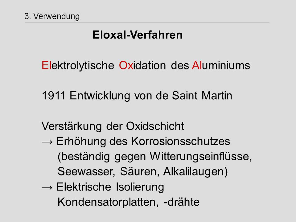 Elektrolytische Oxidation des Aluminiums