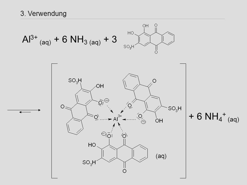 3. Verwendung Al3+ (aq) + 6 NH3 (aq) + 3 + 6 NH4+ (aq) (aq)