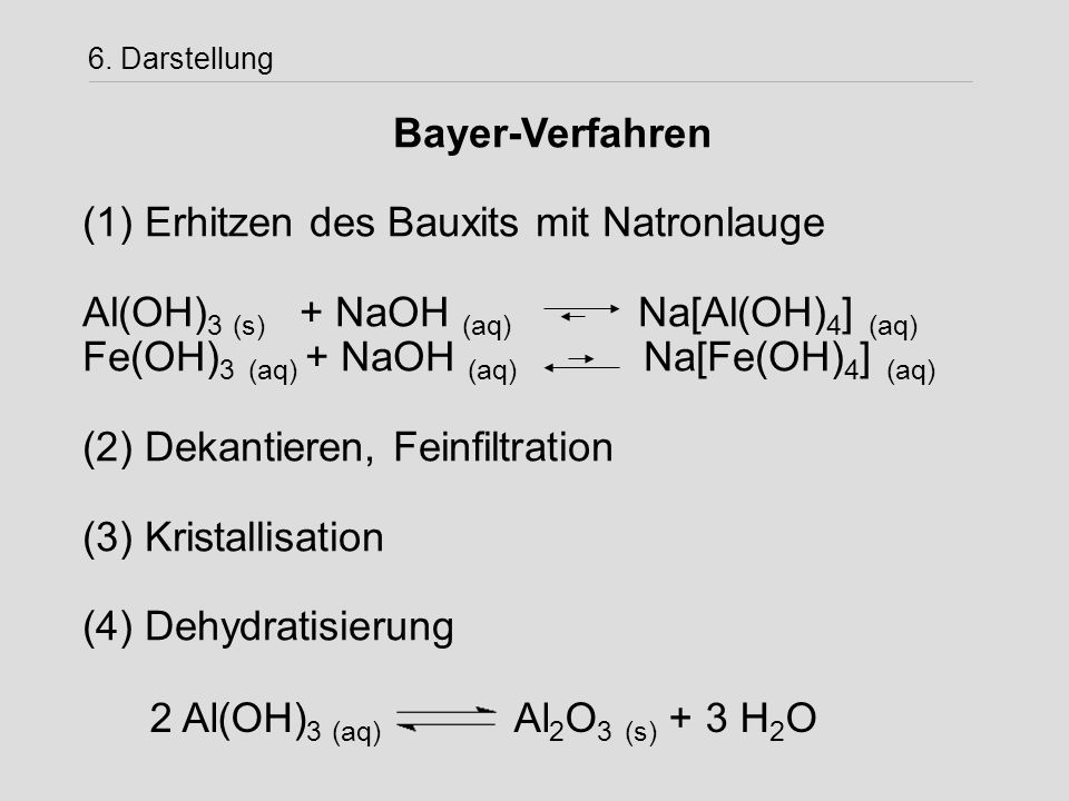 (1) Erhitzen des Bauxits mit Natronlauge