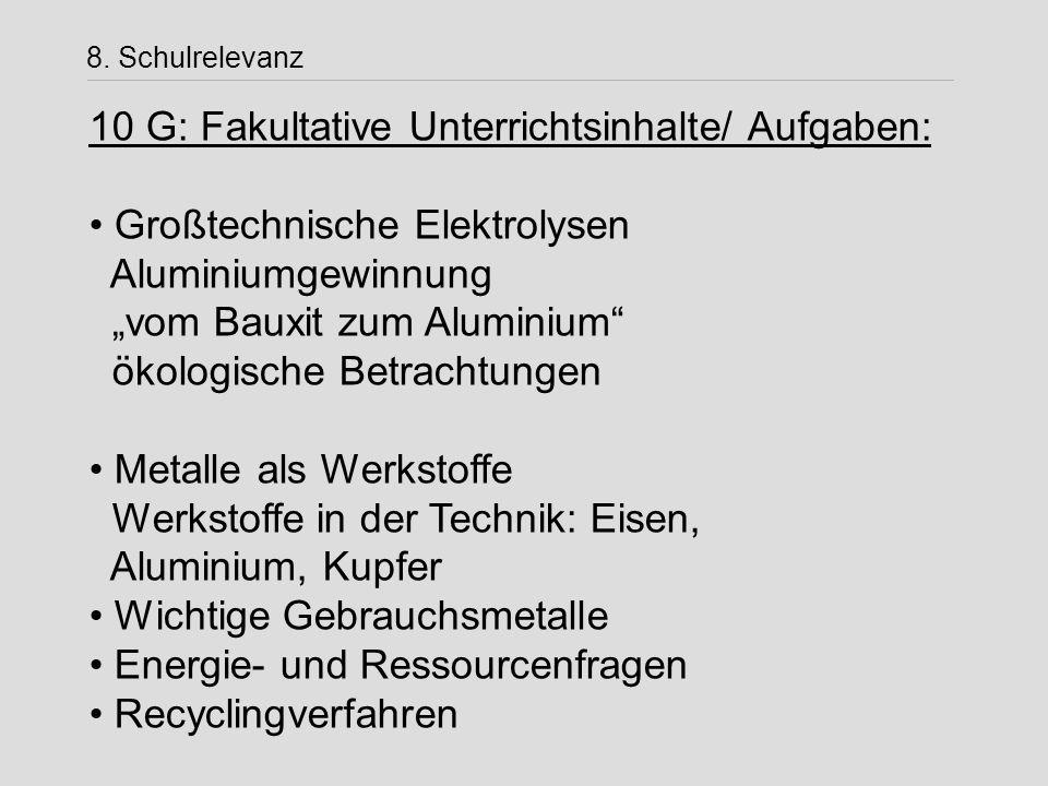 10 G: Fakultative Unterrichtsinhalte/ Aufgaben: