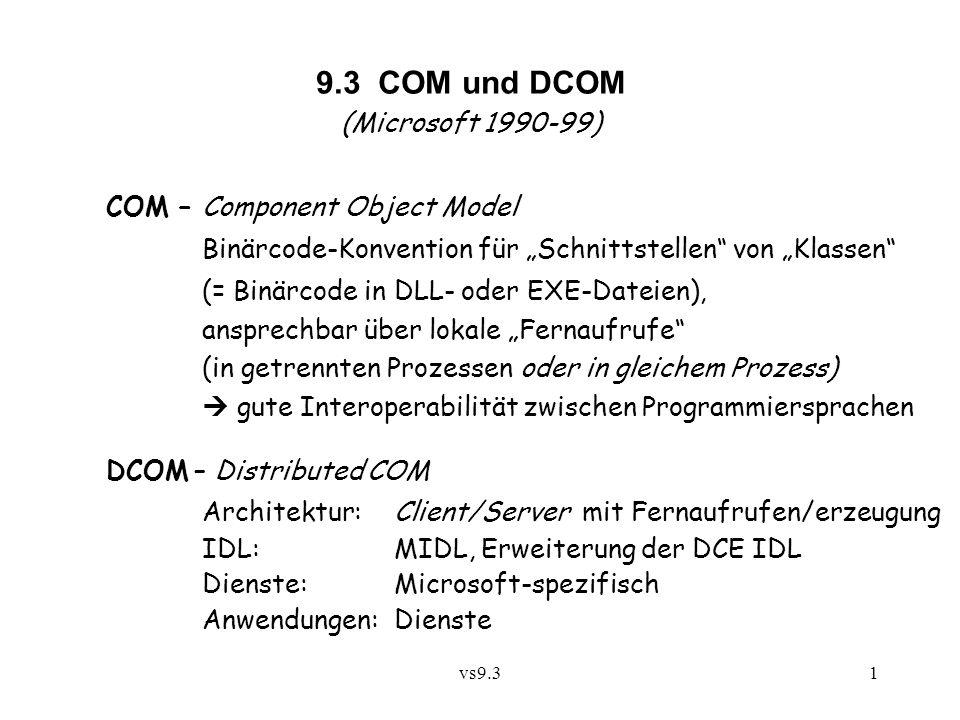 9.3 COM und DCOM (Microsoft 1990-99) COM – Component Object Model