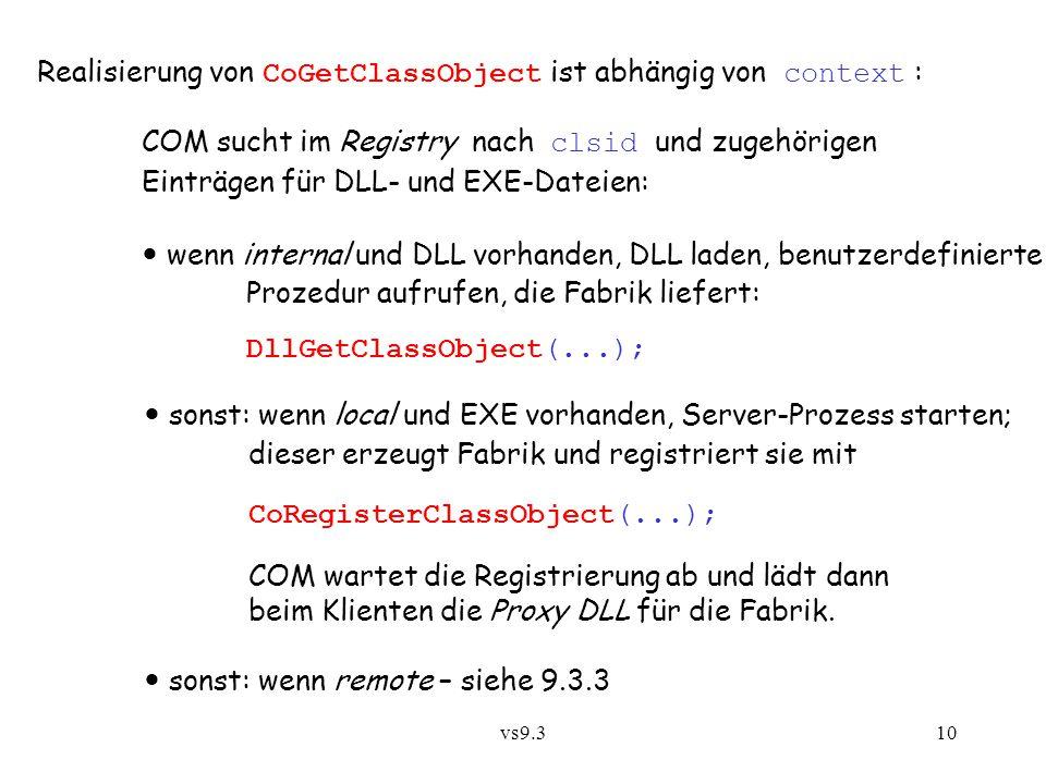 Realisierung von CoGetClassObject ist abhängig von context :