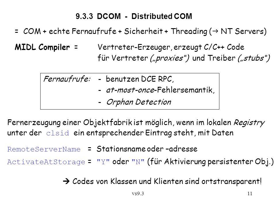 = COM + echte Fernaufrufe + Sicherheit + Threading ( NT Servers)