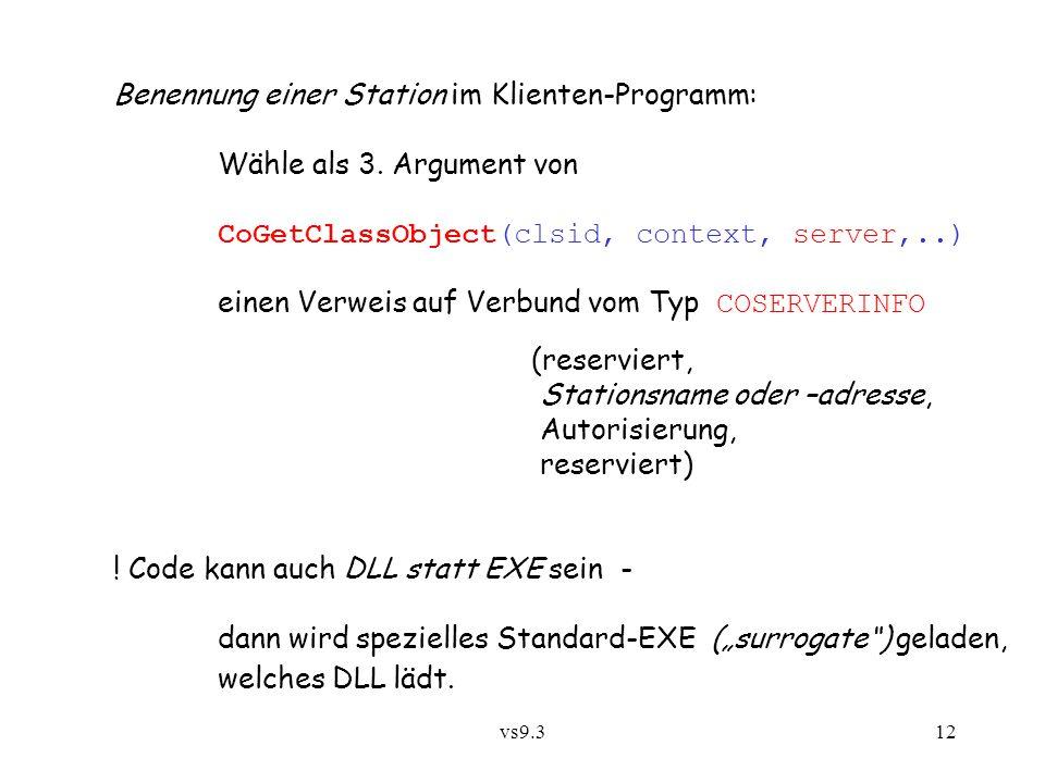 Benennung einer Station im Klienten-Programm: