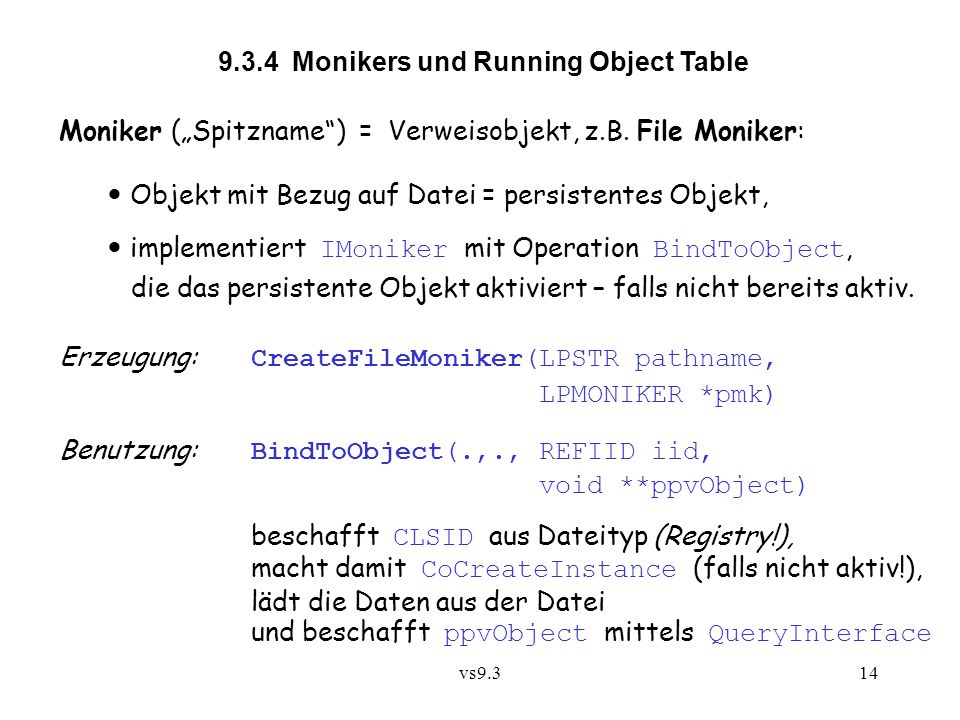 9.3.4 Monikers und Running Object Table