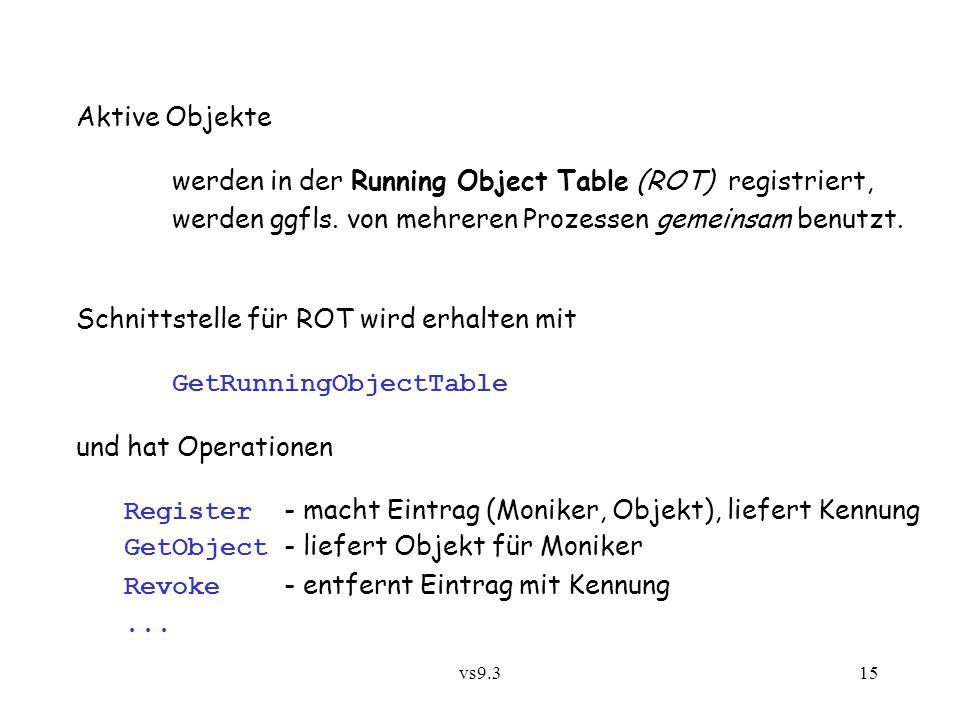 werden in der Running Object Table (ROT) registriert,