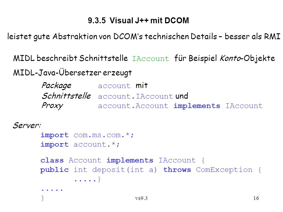 MIDL beschreibt Schnittstelle IAccount für Beispiel Konto-Objekte