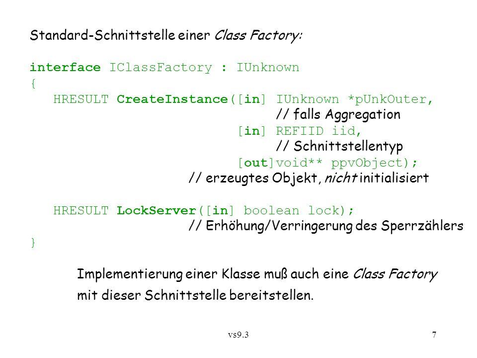 Standard-Schnittstelle einer Class Factory: