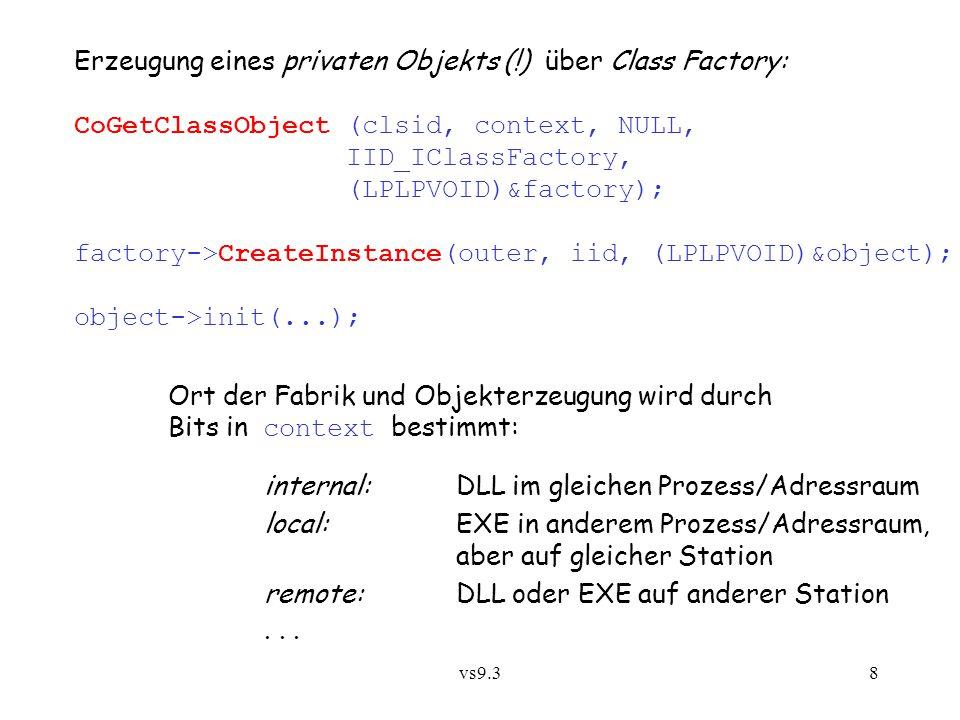 Erzeugung eines privaten Objekts (!) über Class Factory: