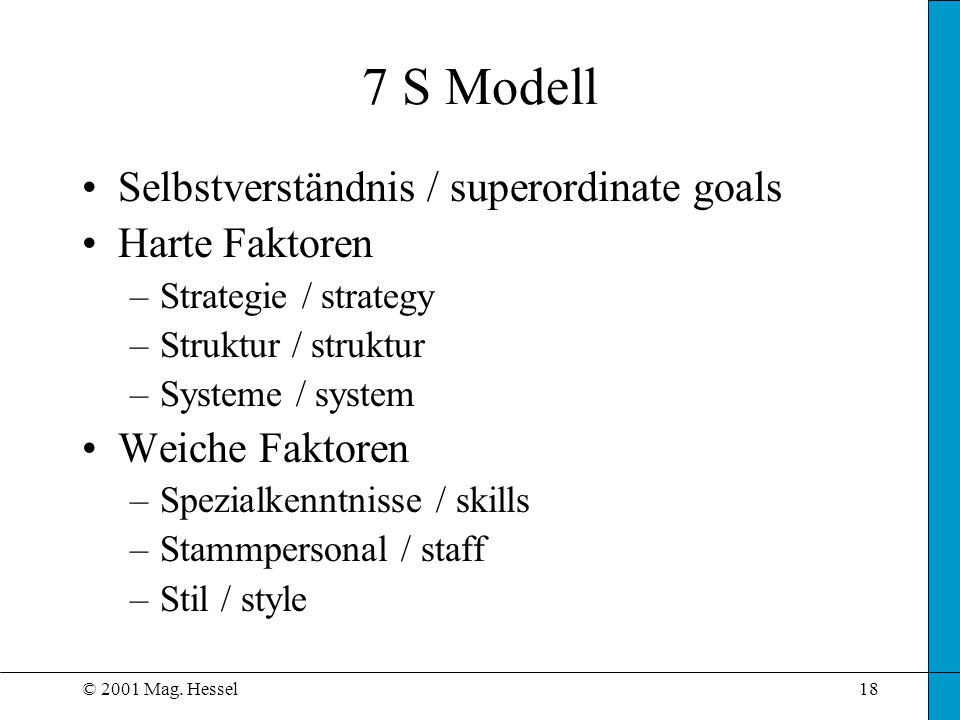 7 S Modell Selbstverständnis / superordinate goals Harte Faktoren