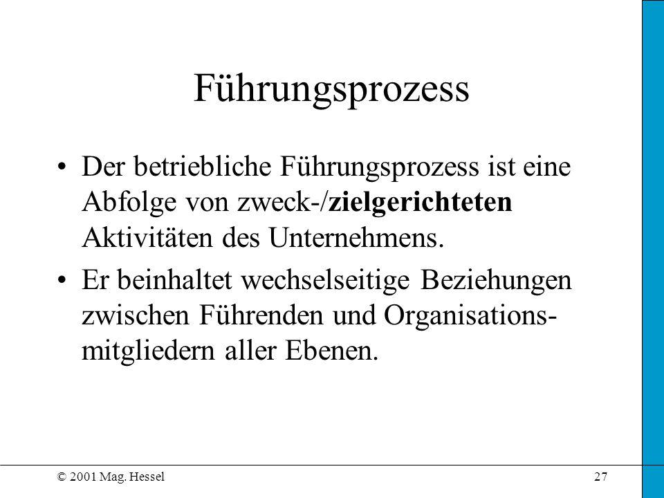 Führungsprozess Der betriebliche Führungsprozess ist eine Abfolge von zweck-/zielgerichteten Aktivitäten des Unternehmens.