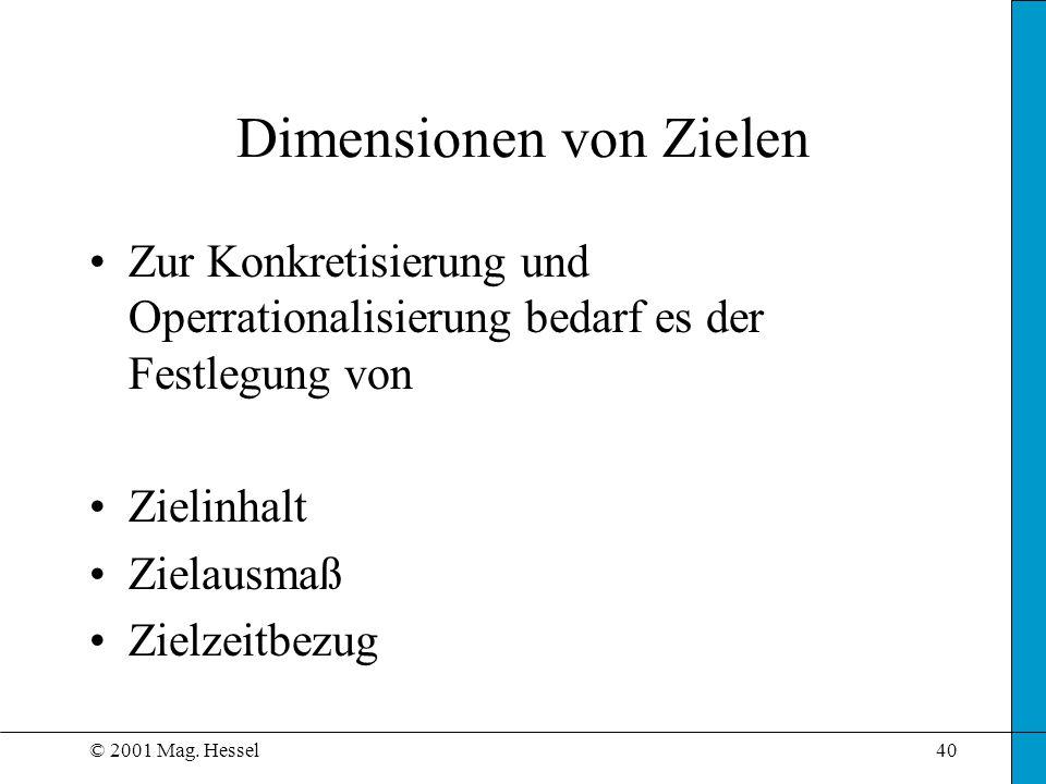 Dimensionen von Zielen