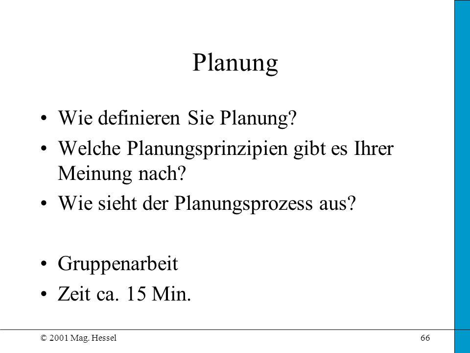 Planung Wie definieren Sie Planung