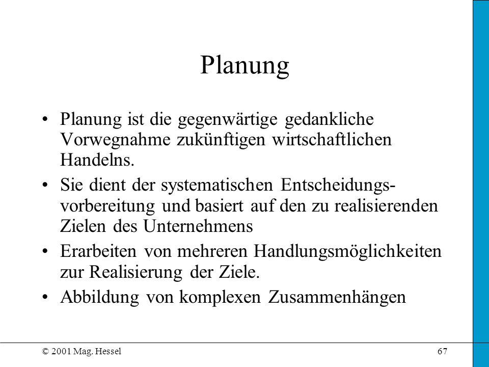 Planung Planung ist die gegenwärtige gedankliche Vorwegnahme zukünftigen wirtschaftlichen Handelns.