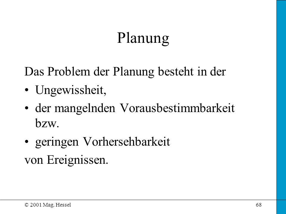 Planung Das Problem der Planung besteht in der Ungewissheit,