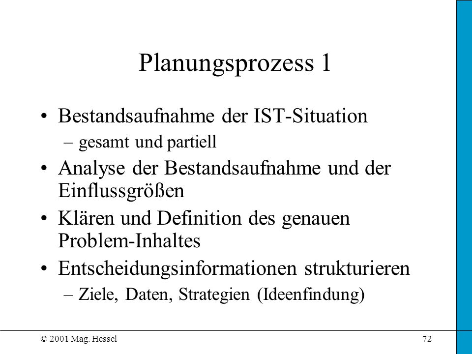 Planungsprozess 1 Bestandsaufnahme der IST-Situation