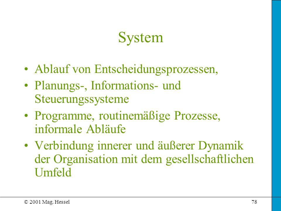 System Ablauf von Entscheidungsprozessen,