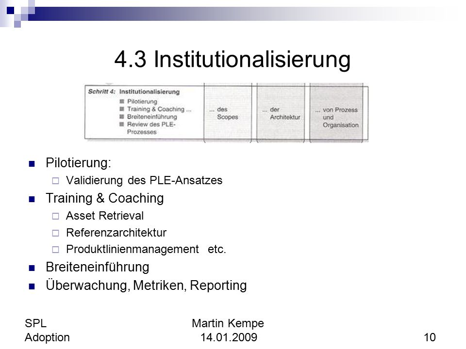 4.3 Institutionalisierung
