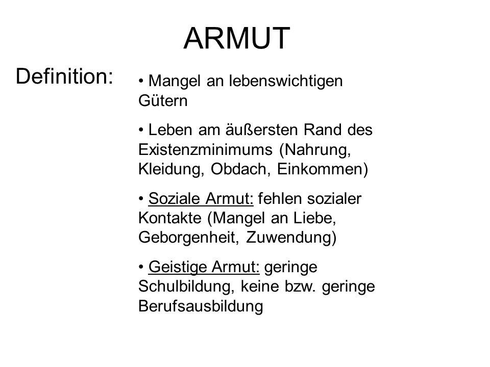 ARMUT Definition: Mangel an lebenswichtigen Gütern
