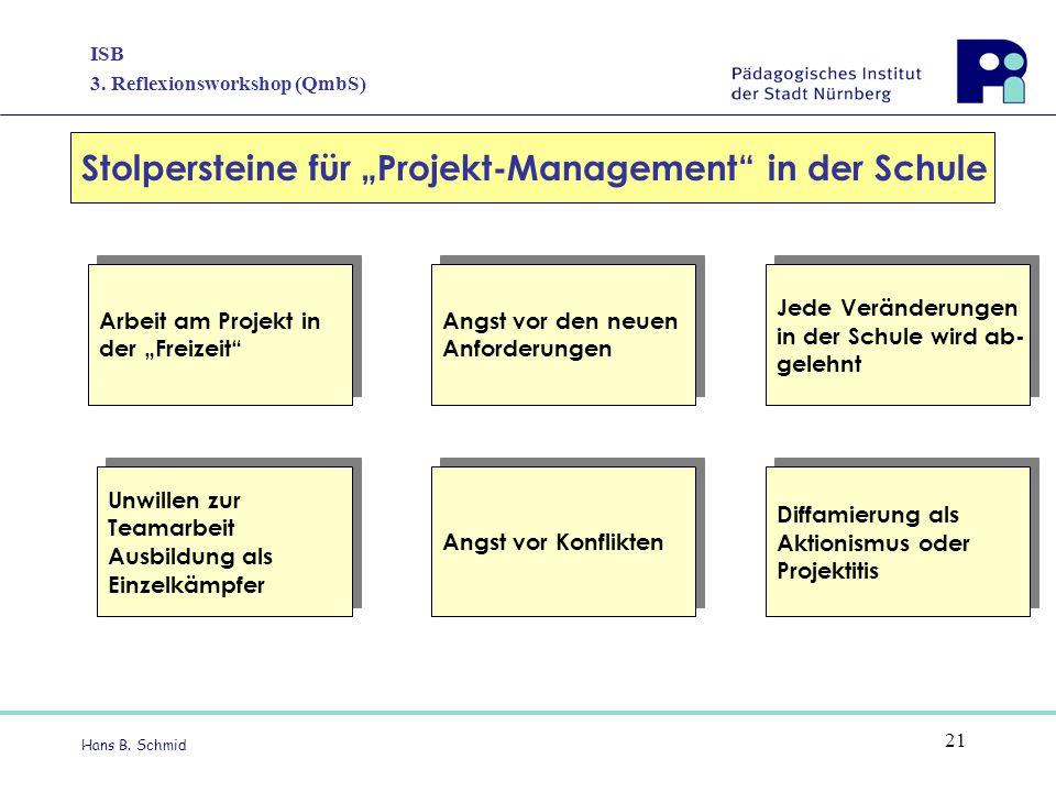 """Stolpersteine für """"Projekt-Management in der Schule"""