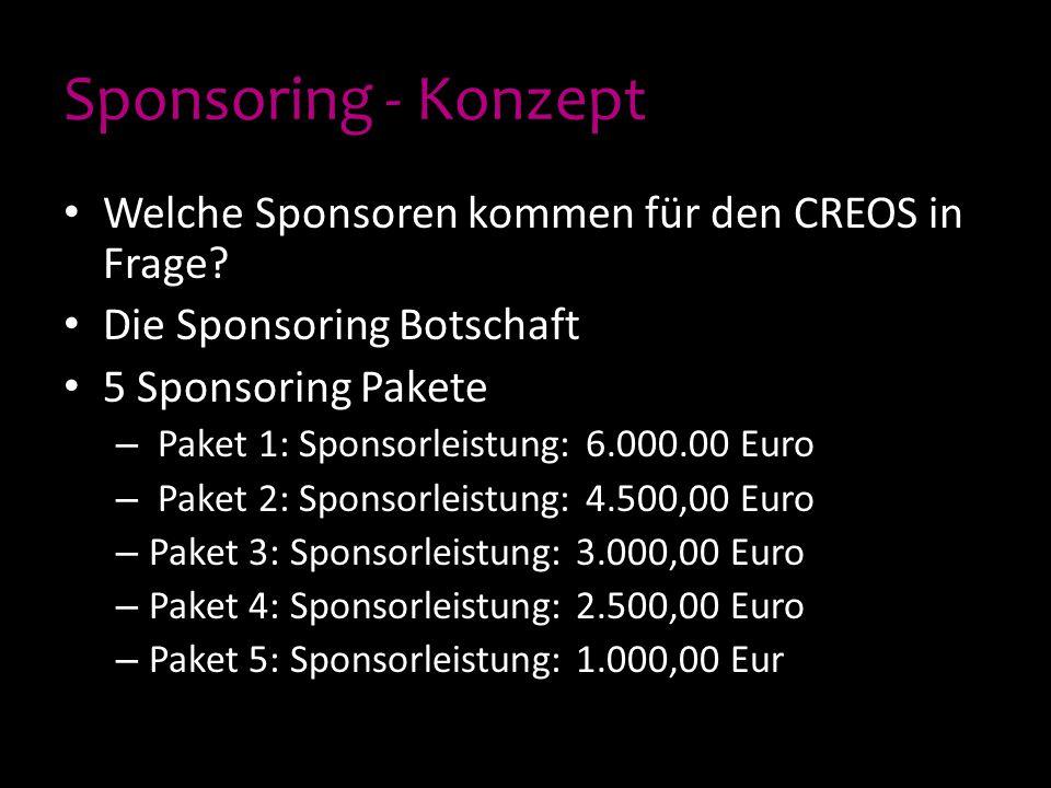 Sponsoring - Konzept Welche Sponsoren kommen für den CREOS in Frage