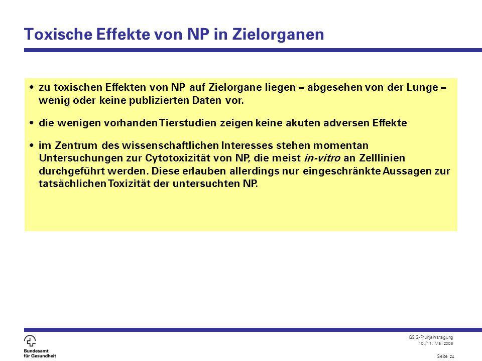 Toxische Effekte von NP in Zielorganen