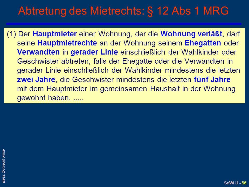 Abtretung des Mietrechts: § 12 Abs 1 MRG