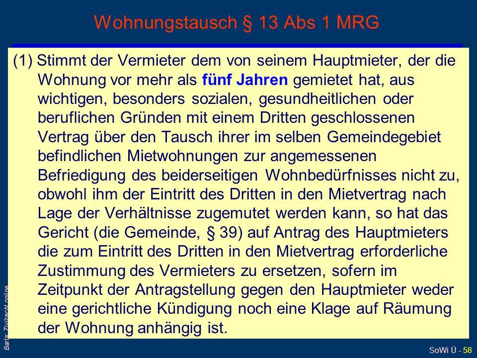 Wohnungstausch § 13 Abs 1 MRG