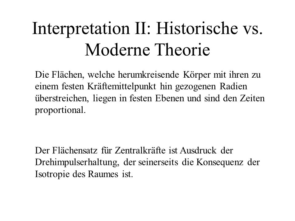 Interpretation II: Historische vs. Moderne Theorie