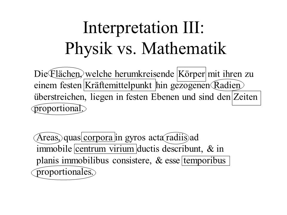 Interpretation III: Physik vs. Mathematik
