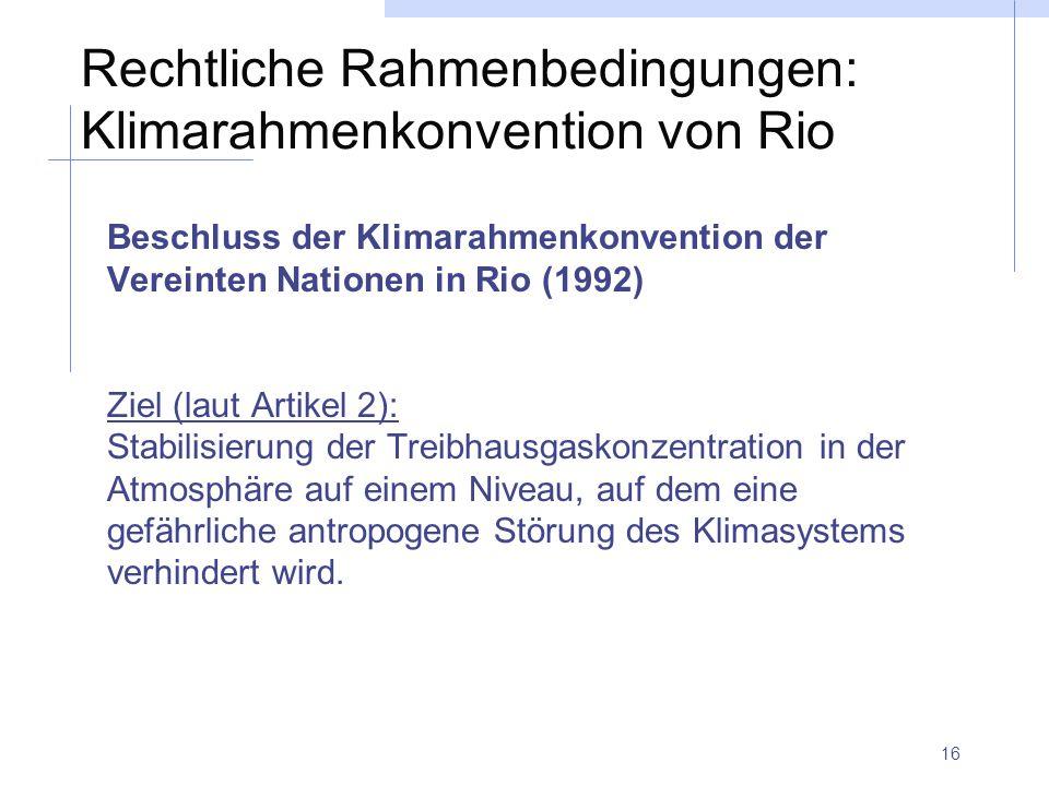 Rechtliche Rahmenbedingungen: Klimarahmenkonvention von Rio