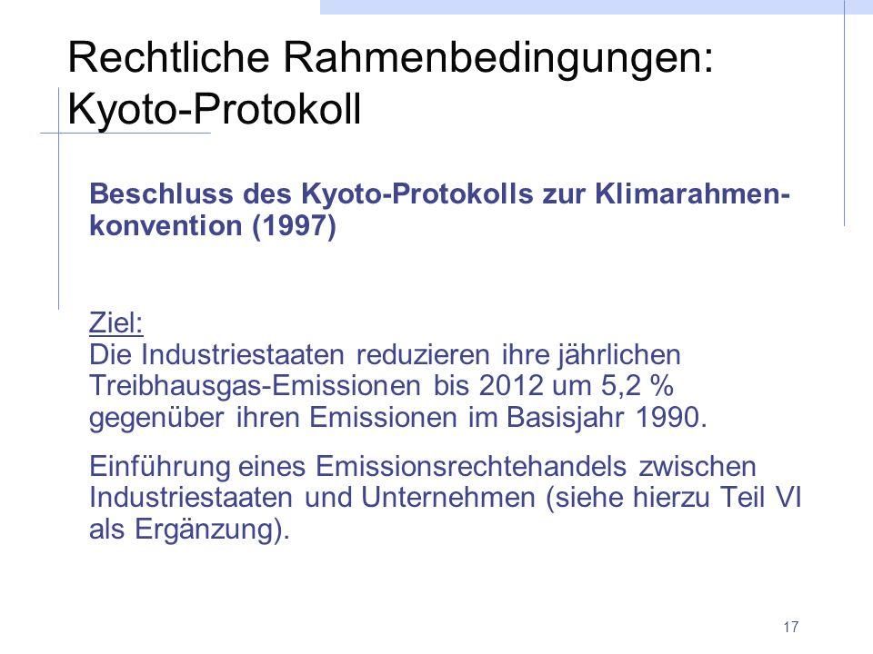 Rechtliche Rahmenbedingungen: Kyoto-Protokoll