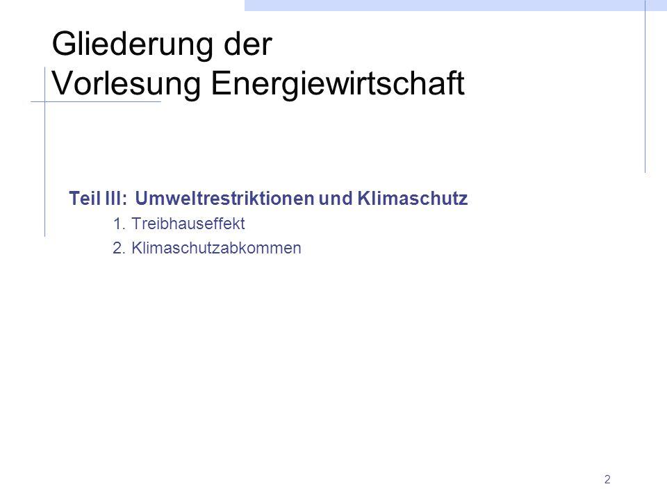 Gliederung der Vorlesung Energiewirtschaft