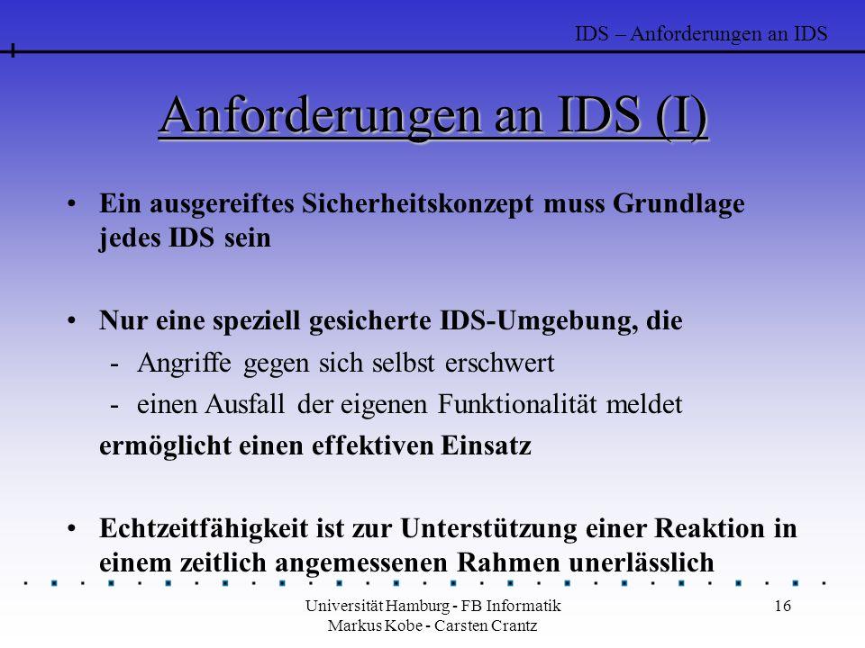Anforderungen an IDS (I)