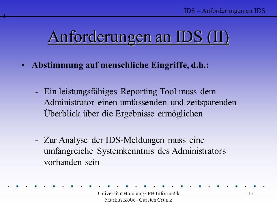 Anforderungen an IDS (II)
