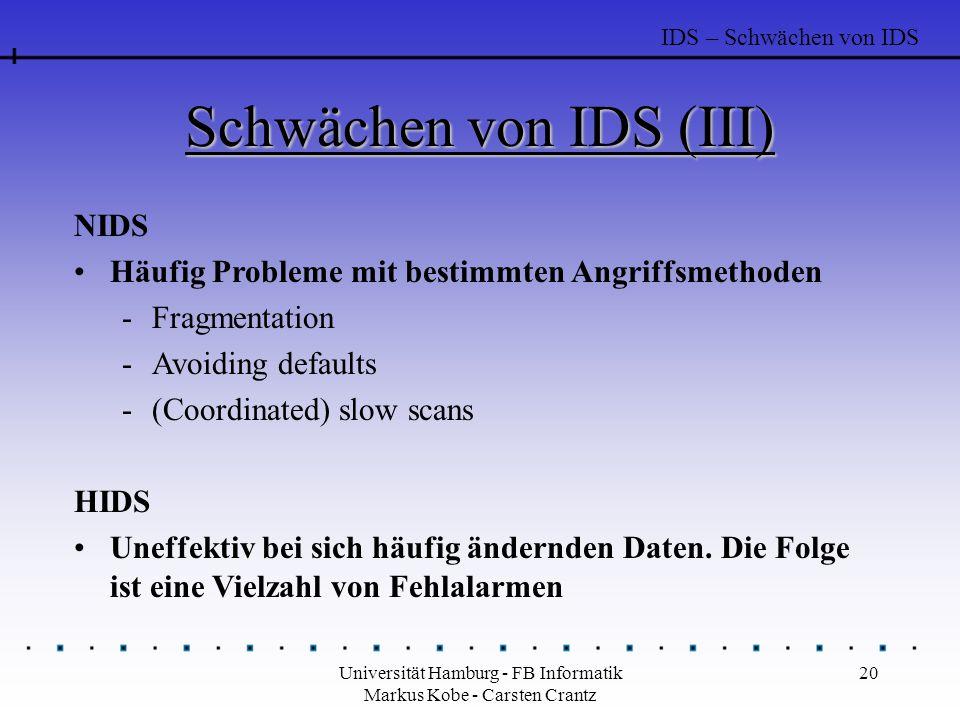 Schwächen von IDS (III)